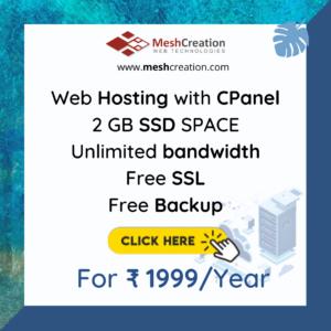 2 GB SSD Web Hosting Unlimited bandwidth Free SSL Email IDs Free Regular Backup One Click Script Installer CPanel